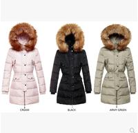 New arrival 203 raccoon large fur collar fashion medium-long down coat female slim wadded jacket