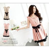 New Korean Fashion Women's Lotus Leaf Round Neck Full Mini Dress drop shipping 3824