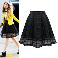 2014 New Fashion Women Elastic High Waist Solid Zipper Chiffon Slim Skirt OL Ladies Organza Pleated Skirt Plus Size Summer