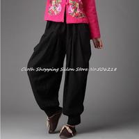 2014 new National Yunan style pure linen cotton losse wide leg trousers pants Haren pants