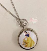 Wholesale 10 PCS/lot Design fashion Enamel princess pattern quartz watches Retro sweater chain Necklace pocket watch