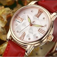 Popular Luminous Needle Wristwatches with PU Band Upscale Fashion Roman Rhinestone Watches Glass Dial Dress Duartz Watch