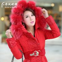 2014 winter Women thickening large fur collar lace women's medium-long down coat female