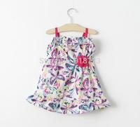 2015 New Spring and Summer Children's Clothing Girls Dress 6M-5T Cotton Dress Princess Butterfly Beach Dress Sea Baby Girl Dress