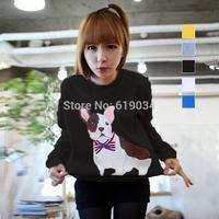 Autumn 2014 Korean Women's round neck long-sleeved sweater loose head fashion jacket pocket puppies printing