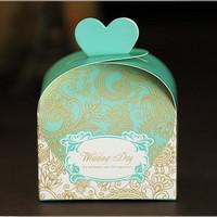 GAGA ! Free shipping 7*4*12 (cm )  blue pattern sweet box for bridal shower   200 pcs/lot ,CF30-4