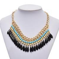 Hot sale# Bohemian Tassels Drop Vintage Gold Choker Chain Neon Bib Statement Necklaces & Pendants Fashion Jewelry For Woman