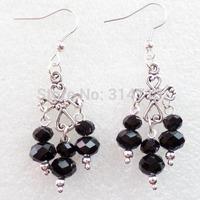 (Min.order 10$ mix)One Pair Super Star Fashion Girl Tibetan Cross With Black Crystal Handmade Earrings Wholesale Price