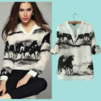 Women Tops 2015 Summer Horse Print Long Sleeve Casual Chiffion  Blouse Black White Solid Chiffon Crochet Shirts Plus Size nz205