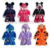 2014 New Baby bathrobe Children kids Pajamas Mickey Minnie bath robe baby homewear boys girls hooded robe beach towel