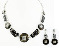 Top Quality Enamel Swirl Fashion jewelry set Women's Party gift Rhinestones chain Necklace and earrings set Gifts A08