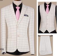 wedding men suits set  jacekt +pant+ vest white plaid slim male suits casual suit  tide of commercial evening