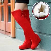 Thermal boots ultra high heels platform boots platform red wedges knee-length boots wedding shoes velvet boots