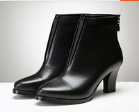 High Quality Handmade Boots Woman Boots Genuine Leather Boots Fashion Thick Heel Ankle Short Boots Elastic Winter Autum Shoes