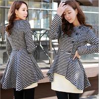 New Plus Size winter coat women Plaid Asymmetric length Houndstooth Contrast Color Woolen Blends casacos femininos S-XL SJY755