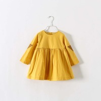 2015 new arrival little girl leather patchwork long sleeve o-neck yellow cotton dress 2-7 years