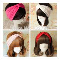 Vintage Girl Lace Twist Knot Headband Turban Headwrap Women Ladies BOHO Wide Stretch Hairband Headwear