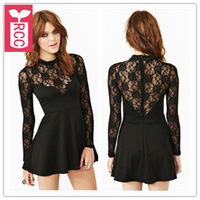 Drop ship!2015 new brand sexy lace splicing See-through Casual dress Transparent long sleeve slim fit and flare dress