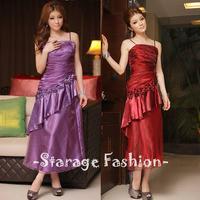 L-XXL Gauze Patchwork Ruffle Oblique Hem Women Formal Dresses Long Gowns Prom Dresses For Party/Banquet/Dinner 3211