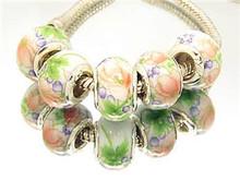 NO 79 14mm Glass Ceramics 925 silver cord Big Hole Loose Beads fit European Pandora