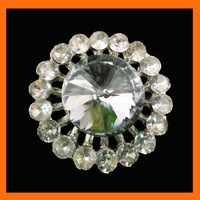 Free Shipping ! 100pcs/lot 37mm silver round rhinestone brooch with fasten for invitation ribbon/shoe