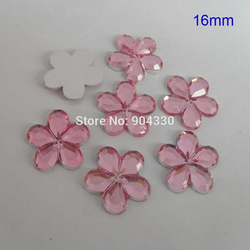 Livraison gratuite! 500 pcs rose 16 MM fleur Flatback strass Acylic diamant Scrapbook bijoux de bricolage décoration(China (Mainland))