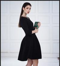 Newest Autumn & Winter Europe Ball Grown Big Brand Cotten Red & Black High- end Elegance Dress(China (Mainland))