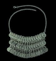 Bohemian Flower Child Silver Coin Fringe Bib Necklace Adjustable Handmade floral design Gypsy Turkish Ethnic Tribal Dress