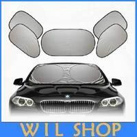 Free shipping 6 PCS per lot Coated silver cloth car sun shade summer accessories curtain sunshade