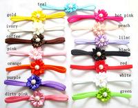 Pink flower headband-dainty flower headband-skinny elastic-pearl flower headband-wedding bridal-photo prop-baby girl toddler