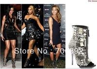 Kama Rhinestone Booties crystal rocked pumps open toe zipper boot sandal black celebrity shoes designer