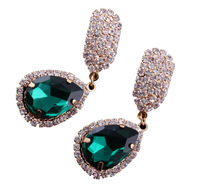 Hot Sale And Free Shipping High Quality New Fashion classic style green water rhinestone Crystal drop earrings for women