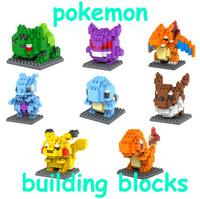 8styles Pokemon Models & Building Toy Self-Locking Bricks Building Blocks Pikachu Kids funny toy Model Building Kits Models