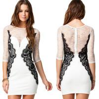 Hot New Woman Dress Sexy & Club Evening Party Dress O-neck half sleeve lace dress Vestidos M-XXL Plus Size SCF80