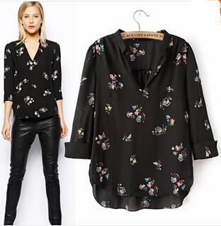 2015 SUMMER Blusas Femininas Long Sleeve Women Blouses V-Neck Blouse Woman Shirt Transparent Free Shipping(China (Mainland))