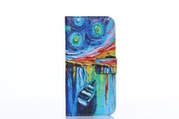 New Luxury Colorful Oil painting wallet case for iphone 6 plus card holder stand flip cover phone bags cases for iphone6 5.5inch