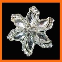 Free Shipping ! 100pcs/lot 48mm silver flower rhinestone brooch pins for invitation ribbon/shoe