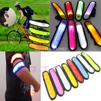 D19Free Shipping 1pc Reflective Flashing LED Glow Armband Ankle Visible Arm Belt Strap Sports Biking