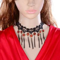 DL3335 Wholesale 12pcs/lot Gothic vintage crystal pendant  royal short tassel necklaces lace collar women accessories