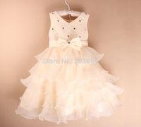 Free Shipping Retail Girl Dress 2015 new Children Party pink bow Dress princess children girl wedding dress P-Dec5