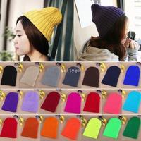 Unisex Women Mens Plain Cotton Wool Beanies Winter Hat Cap Warm Knit Knitted Beanie Ski Hat A1 Px23