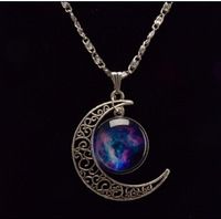 Hot sale# Fashion Jewelry Choker Necklace Glass Galaxy Lovely Pendant Silver Chain Moon Necklace & Pendant  AliExpress Sale