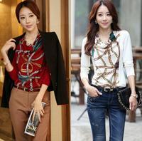 Wholesale 3pc/lot Spring Autumn Fashion Shirts Printed Bow Collar T-shirt Woman Clothing Female Large Size SHIRT-656253
