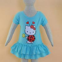 New 2015 Baby Girl 100%Cotton Hello Kitty Dress Kids Pink Summer Dress Girls Casusl Dress Free Shipping
