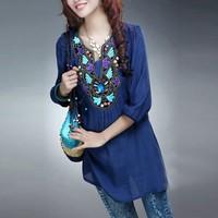 New 2014 fashion summer dress Embroidery printing dress women casual dress hot Loose vintage shirt dress L XL XXL XXXL