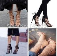 2015 Top Quality Women Pumps Open Toe Cut-Out Rope high heel sandals platform Women dress shoes