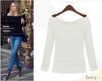 2015 Spring Autumn Fashion Shirts Solid Women O-neck Full Sleeves T-shirt Woman Clothing Female SHIRTS-657222