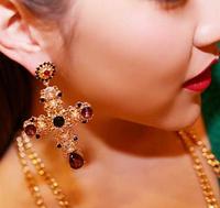 Baroque Luxury Yellow Gold Plated Crystal Cross Drops Earrings Pearl Flower Dngle Earrings For Women