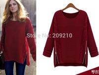 women autumn winter soft warm casual Pullover sweater 2015 spring knitted Coarse Wool double zipper outerwear sweater sweatshirt