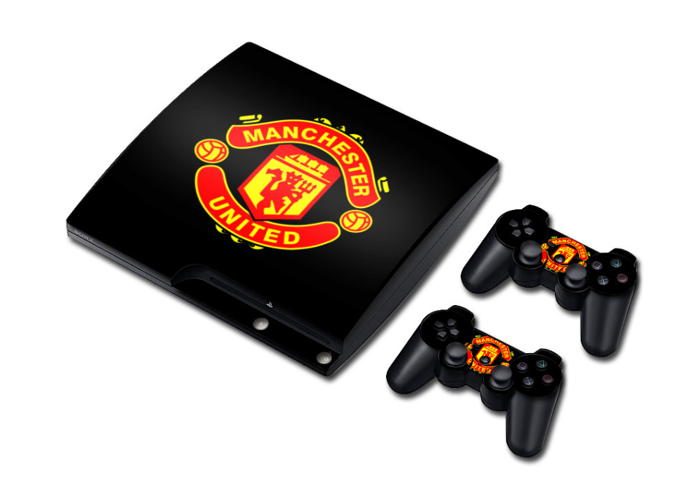 1Set Vinyl Sticker for PS3 Console PlayStation Slim Skins + 2PCS Stickers for PS3 Games Controller Football Club Wholesale(China (Mainland))